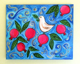 Pomegranate Art, Painting on Canvas, Peace Dove, Pomegranate Tree, Original Acrylic Painting, 16X20 inch, Shalom Artwork, Pomegranate Decor
