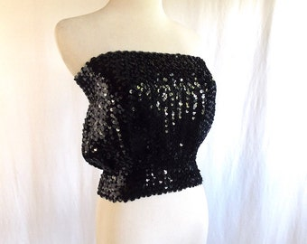 VTG Black Sequin Tube Top Bust 28/30