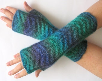 Fingerless Gloves Wrist Warmers Mittens Green Blue Purple Knit