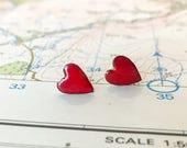 love heart earrings ++ romantic sweet ++minimal = fun  =colour = stud