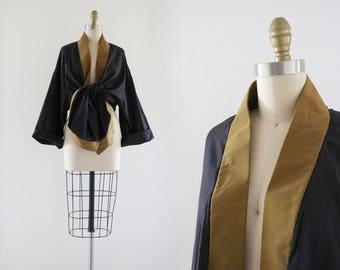 charcoal + chartreuse silk kimono