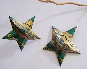 Sierra Nevada Torpedo Extra IPA Beer Stars Ornaments Aluminum Can Upcycled