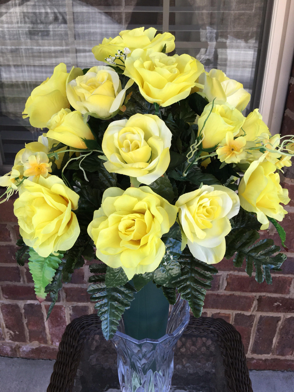 Cemetery Flowersyellow Silk Rosescemetery Vase Arrangement