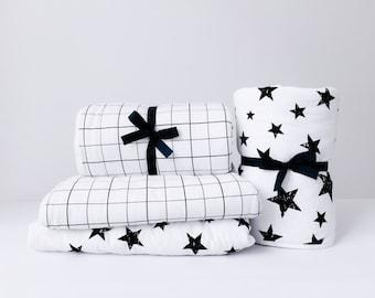 Baby Blanket, Crib Quilt Baby Boy, Toddler Bedding, Baby Neutral Nursery, Hipster Baby, Modern Crib Quilt, Stroller Blanket, Grid, Christmas