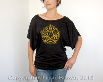 Pentagram T Shirt Women's Short Sleeve Top Wiccan pagan clothing