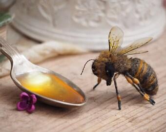 Needle felted honey bee