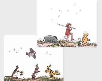 "Classic Pooh Nursery, Winnie the Pooh Decor (Boys Room Wall Prints, Girls Nursery Art, New Baby Shower Gift Idea) ""Animal Parade"" Set of 2"