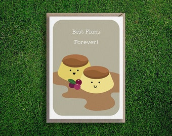 Greeting Cards | Best Flans Card, BFF, Friends, Thinking of you, Cute & Quirky, Silly, Creme Caramel Flan, Fun, Card