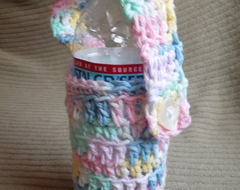 Pretty Pastel Bicycle Bottle Carrier, Fully Adjustable, Cotton  - USA Grown Shipping Included