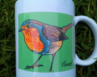 Robin mug, cup, sale, seconds, art,
