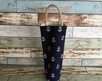 Wine tote navy blue anchor