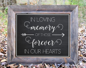 In Loving Memory Of Those Forever In Our Hearts Chalkboard Sign Wedding Reception Party Printable