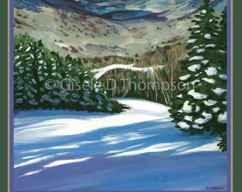 Live Free and Explore NH Poster 11x17 print winter, View from Loon Mountain