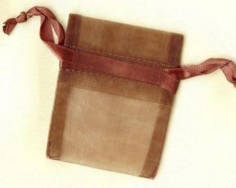 20 x ORGANZA SACHETS ❀ chocolate 5x6.25cm MAT0474 ❀