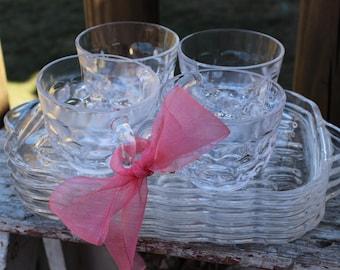 2 Hazel Atlas glass snack sip smoke snack trays w/ cups Mid