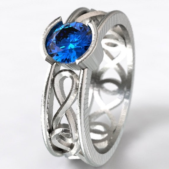 Infinity Ring With Celtic Blue Sapphire Irish Knotwork Design in Sterling Silver, Made in Your Size CR-1027