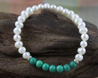 Women's Turquoise and Freshwater Pearl December Birthstone Bracelet