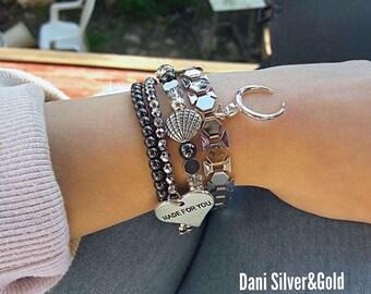 Silver bracelets set - 4 bracelets