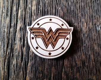 Wonder woman pin or magnet, your choice.