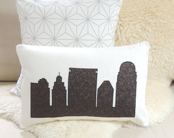 Winston-Salem City Skyline Appliqué Pillow