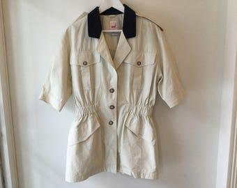 80s cream lightweght jacket M/L / vintage beige short sleeve jacket / cinched waist trench coat / khaki safari cotton jacket