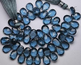 20 Beads,Superb-Finest Quality, London Blue Quartz Faceted Pear Shape Briolettes,8x12mm size,