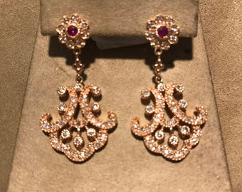 Antique Style Dangle Rose Gold Diamond & Pink Sapphire Earrings