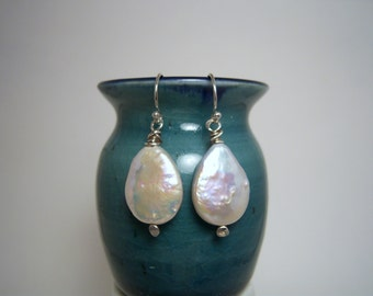 Luscious Extra Large Teardrop Freshwater Pearl Earrings on Handmade Hammered Fine Silver Headpins With Sterling Ear Wires