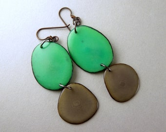 Greenery and Gray Tagua Nut Eco Friendly Earrings with Free USA Shipping #taguanut #ecofriendlyjewelry