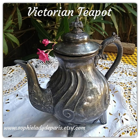 Victorian Tea Pot Ornate Engraved 1880's Pewter Tea Pot Collectible Home Decor #sophieladydeparis