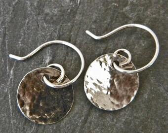 Silver Hammered Disc Earrings - Hammered Silver Earrings - Everyday Dangle Earrings - Tiny Dangle Earrings - Sterling Silver Disc Earrings