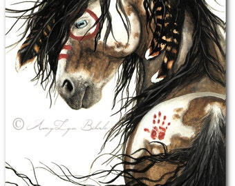 Majestic Horses Pinto War Paint Native Feathers - ArT Prints by Bihrle mm46