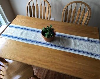 Oaxacan Table Runner | Cream & Blue Runner | Woven Table Runner | Holiday Table Decor | Christmas Decor | Hanukkah Decor