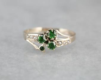 Victorian Demantoid Garnet Ring, Garnet and Seed Pearl Ring, Victorian Estate Jewelry, Antique Dinner Ring QDT1JL-D