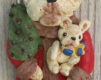 Nostagic French Bull Dog Santa Ornament Nostalgic Vintage Ooak Cookie Doll