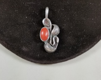 VIntage 925 Sterling Silver and Red Coral Leaf Pendant Native American