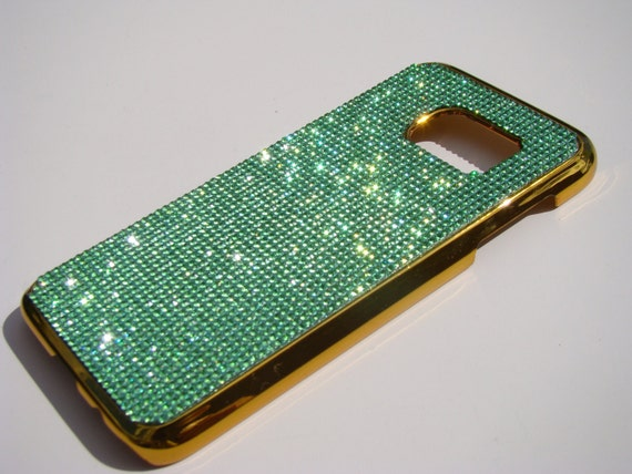 Galaxy S7 Case Green Peridot  Rhinestone Crystals on Gold Chrome Case. Velvet/Silk Pouch Bag Included, Genuine Rangsee Crystal Cases