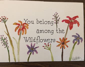 Wildflowers watercolor painting (not framed)