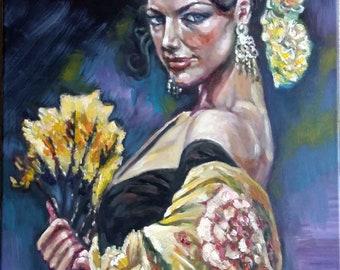 "Original Oil painting, Spanish Beauty, 20""x16"", 1806072"
