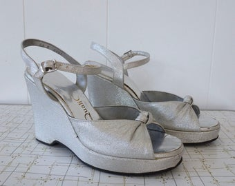 70's Platform Shoes Disco Ball Sparkling Silver Lamé Metallic Ankle Strap 40's Style Wedge Heels 8 N 8N 7.5