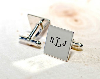 Personalized square sterling silver cuff links with monogram or custom designs - solid 925 CL533