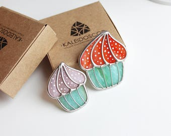 Stained Glass Brooch Cake, Brooch Cake, Summer Jewerly,  Bright Jewerly, Stained Glass Brooch, Sweet brooch, Sweets, Stained Glass Art