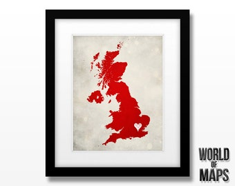 United Kingdom Map Print - Home Town Love - Personalized Art Print Available in Multiple Size and Color Options