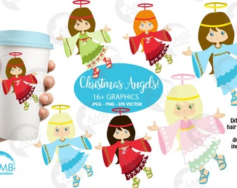 Christmas Clipart, Angel Clipart, Little Angels with Halos Commercial Use, Instant Download, AMB-572