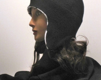 handmade earflap hat ski cap hat  fleece hat red black reversible