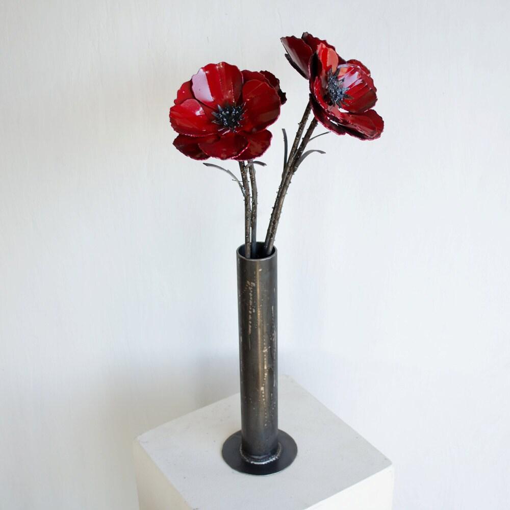 Metal poppy flower arrangement industrial flower bouquet zoom mightylinksfo