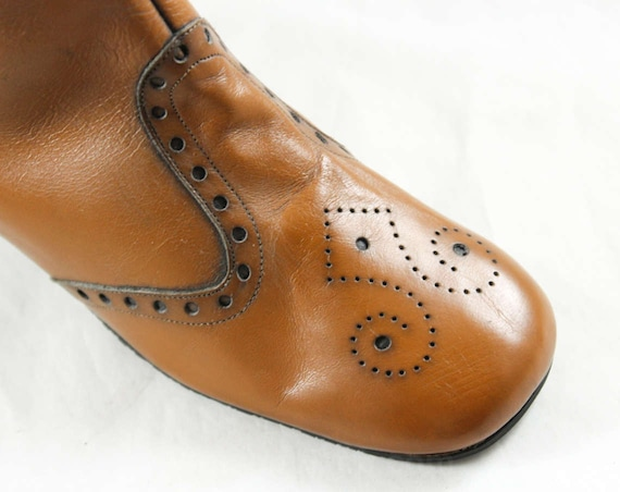 Unworn Tan Boots 60s Size Perforations Street Deadstock 5 1960s 47739 1 Chic Boot Style Deadstock Leather Rockabilly Brogue Tall tRCtI5fxq