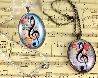 Treble Clef Pendant, Oval Glass Cabochon Pendant, Musical Necklace, Digital Image