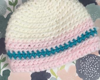 Handmade Crochet White Striped Preemie Hat