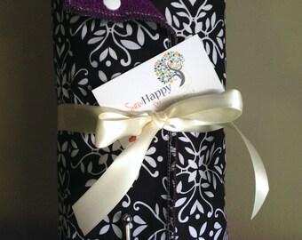 Reusable Cloth Paper Towel, Snap Towel Roll, Unpaper Towel - White on Black Damask on Plum Purple Terry Cloth